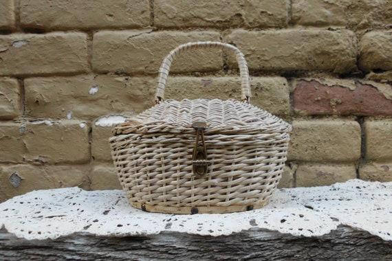 Adorable White Wicker Handbag - Italian Basket Pur