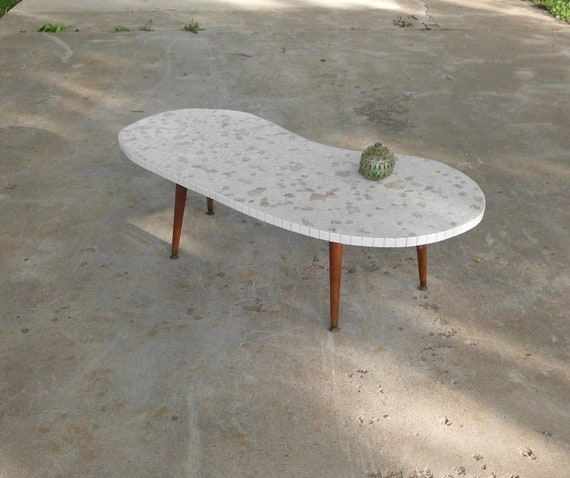 Reduced Fab Mid Century Mosaic Kidney Shaped Coffee Table Etsy