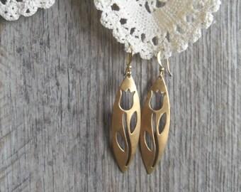 Brass Tulip Cutout Earrings