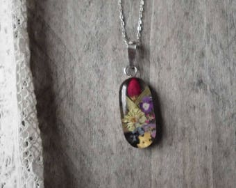 Sterling Silver Wildflower Resin Pendant only