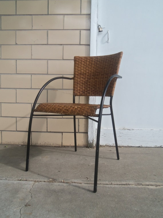 Mid Century Mod Wrought Iron Wicker Rattan Easy Chair Etsy