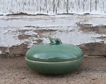 Charming Vintage Frog Trinket Jar with Lid