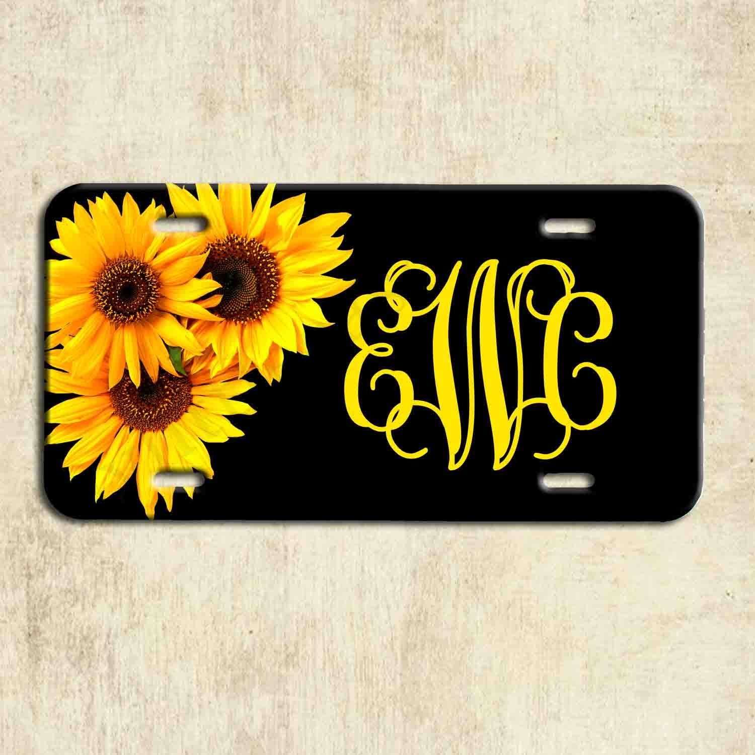 Dujiea License Plate Aluminum Sketch Sloth Sunflower Car Tag Cover Decorative License Plates for Front of Car Durable Metal Car Plate for Women//Girls//Men//Boys Vanity Gifts 6 X 12 in