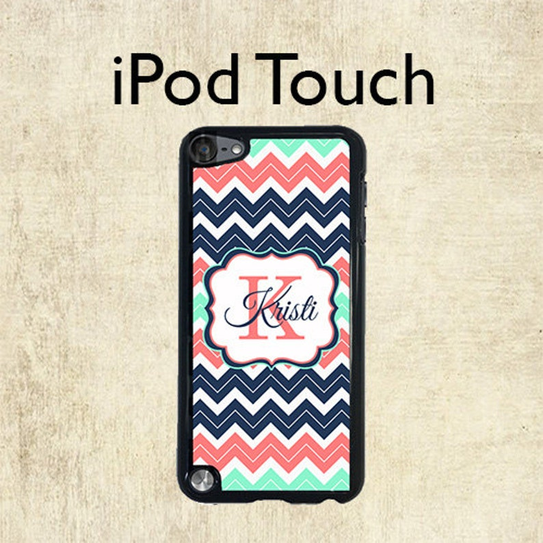 buy popular 5b553 22199 iPod 6 Case - Monogram iPod Case - Navy Coral Mint Chevron - iPod Touch 5  Case - Personalized iPod Touch Case