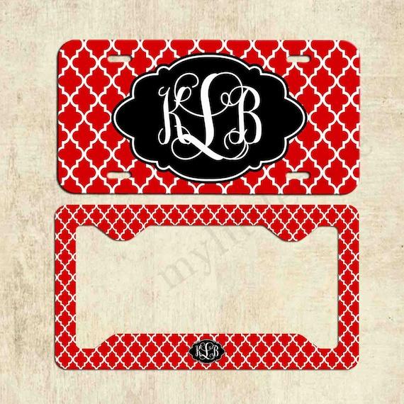 monogram license plate red black quatrefoil license plate | etsy