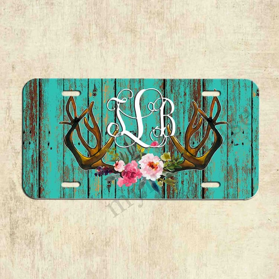 Monogram License Plate Floral Deer Antler Monogram License