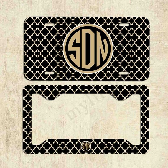 Custom Monogram Front Car Tag Navy Blue Paisley Pattern