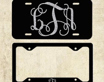 Classy Black and Silver Front License Plate, Personalized Monogram Car Tag Accessories, License Plate Frame, Sweet 16 Gift, Gift For Her