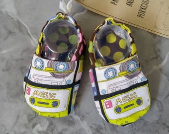Baby Shoes - Mixtape (baby shoes, baby mocs, baby booties, baby shower gift, mixtape baby, hipster baby)