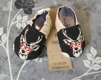Baby Shoes - Deer Nerd (baby shoes, baby mocs, baby booties, baby shower gift, deer baby, mothers day)