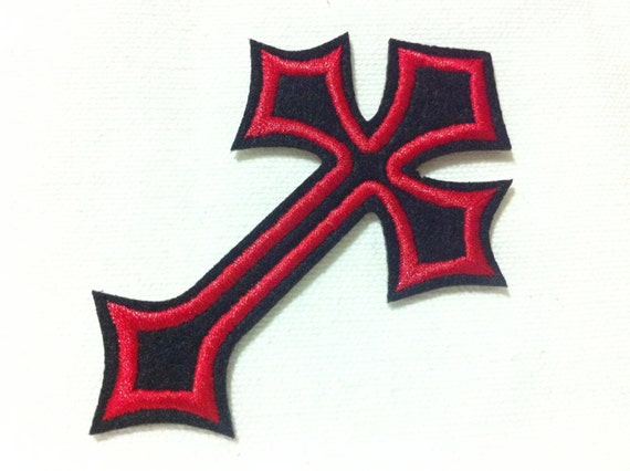 Gothic Cross 10cm x 7cm Patch Embroidered Sew or Iron on Badge