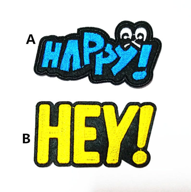 Punk Patch Happy or Hey Personality Style Embroidered Applique Iron on Cool Patch AL