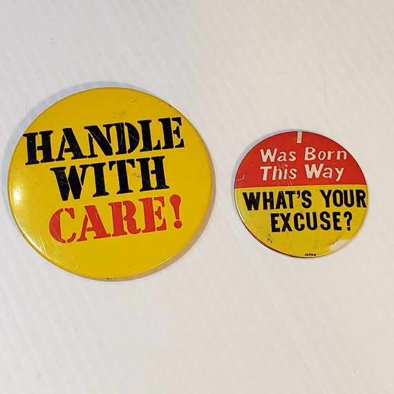 Vintage Novelty Pins Buttons Handle with Care, I … - image 1