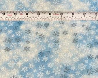 100% Blue Glitter Snowflake Winter Fabric - Free shipping!
