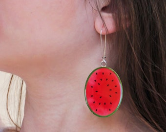 Watermelon earrings, statement earrings, fruit resin earrings, summer jewelry, fruit jewelry, lightweight earrings, pop art long earrings