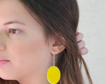 Yellow earrings, statement earrings, yellow resin earrings, modern minimalist, pop color block jewelry, big oval lightweight earrings