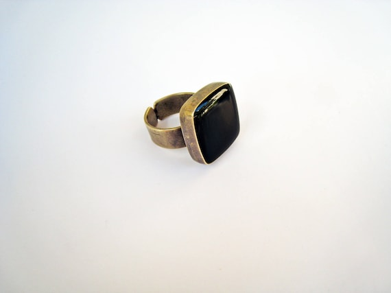 Onyx Black ring, bronze black statement ring, black resin ring, square ring, modern minimalist, sexy goth rock, antique bronze ring