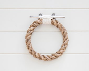 ROPE TOWEL RING holder handmade from natural rope for bathroom, kitchen, boat or outdoors undercover.