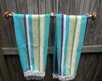 NAUTICAL TOWEL HOLDER, handmade manila rope for kitchen, bathroom, boat or outdoors undercover