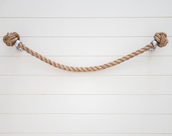 TOWEL HOLDER RACK Rail handmade nautical natural Manila rope decor  for bathroom or kitchen
