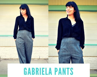 Gabriela Pants PDF sewing pattern and step by step sewing tutorial for women.