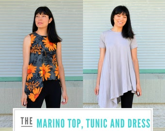 The Marino Top, Tunic and Dress PDF sewing pattern and step by step sewing tutorial with printable easy to download and plus sizes included