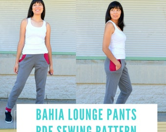 The Bahia Lounge Pants PDF sewing pattern and printable sewing tutorial for women.  The pattern covers sizes 4 to 22 and it is letter/a4