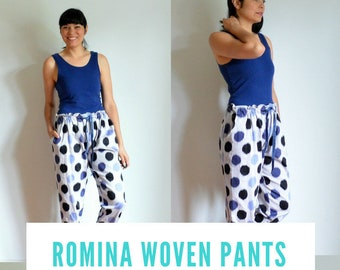 Romina  Woven Pants PDF sewing pattern and tutorial