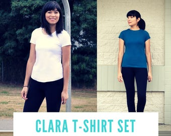 Clara T-shirt Set:  Printable PDF sewing pattern and sewing tutorial in sizes 4 to 22. Four style t-shirt to choose from, including plus siz