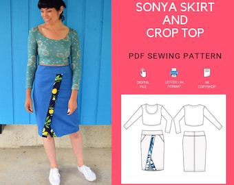d164713569ca74 Sonya Skirt and Crop top PDF sewing pattern