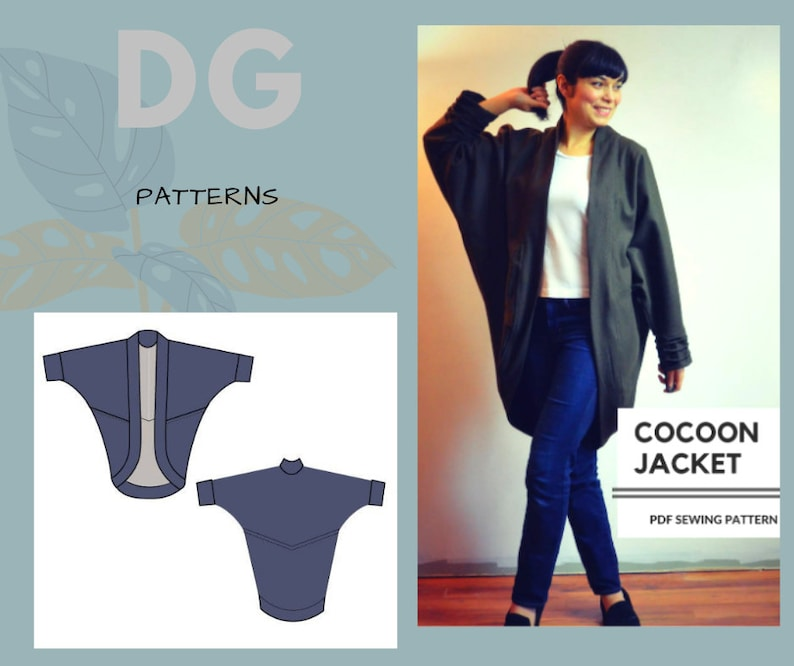 Cocoon Jacket PDF sewing pattern and tutorial with sizes from image 0