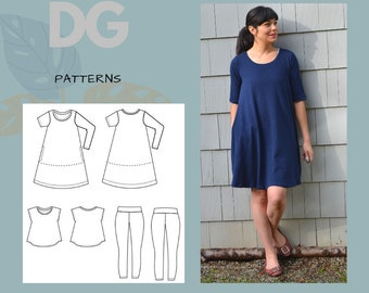 Swing Top, Tunic and Dress, plus leggings  PDF Printable sewing pattern and tutorial