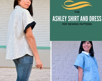 The Ashley Kimono Shirt and Dress PDF pattern:  Dress and shirt PDF printable sewing pattern for women. Easy available in sizes 4 to 22