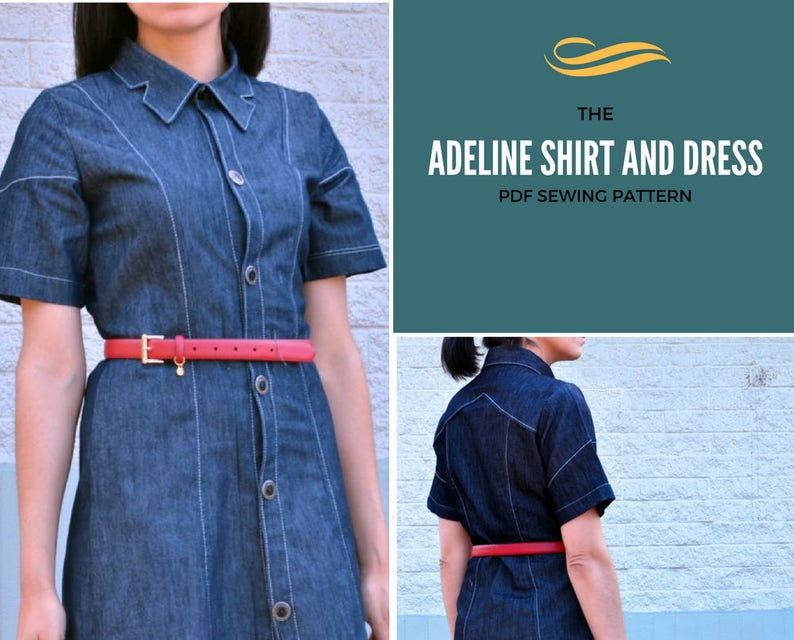 Adeline Dress and Button up Shirt PDF pattern for Womens. image 0