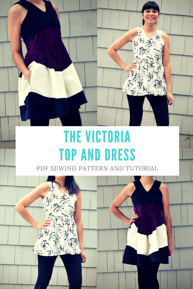 the Victoria Top and Dress Pattern and Tutorial PDF printable sewing pattern and tutorial including sizes 4 to 22 and step by step illust