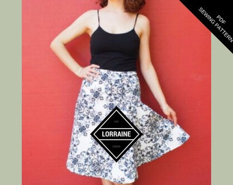 Lorraine Skirt PDF Pattern: Instant Download PDF Sewing Pattern for women.  Easy make of asymmetrical skirt pattern for plus size women