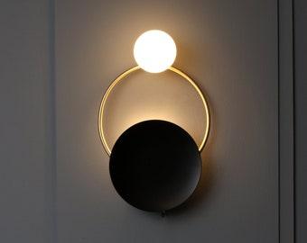 globe wall sconce exterior ring gold mat brass wall sconce globe minimal light lamp mid century glass globe sconce etsy