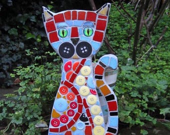 Mosaic Cat wall decor, wall hanging, cat wall art, size 27cm x 13cm
