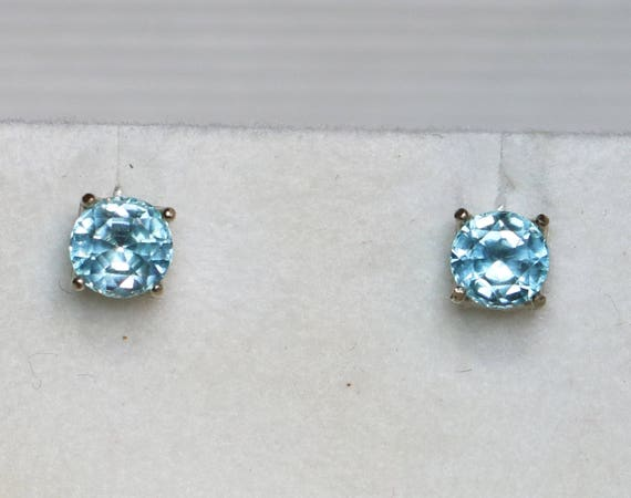 4d86d06a3 14k Blue Zircon White Gold Earring Studs 4mm Genuine Zircon | Etsy