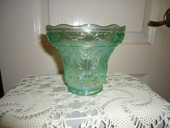Lenox Imperial Glass Green Carnival Glass Candy Dish Etsy