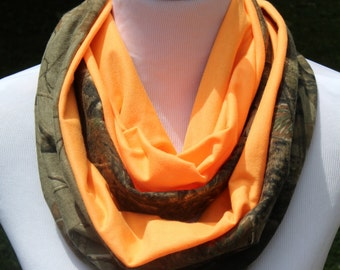 Camo Scarf, Personalized Camo Infinity Scarf, Realtree with Neon Orange jersey knit, Colorblock Realtree Camo Scarf, Camoflauge