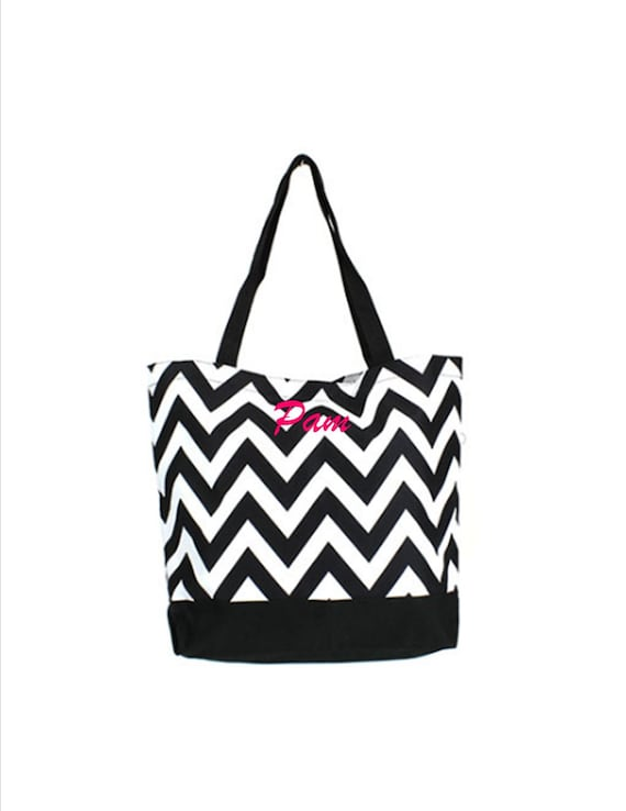 "Tote Bag Purse Shopper Chevron Grey Black White 19/""x14/"""
