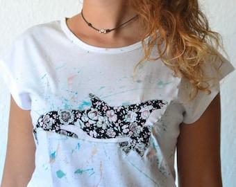Camiseta orcas, Camiseta ballenas.  Orcas. Camiseta de orcas pintada a mano