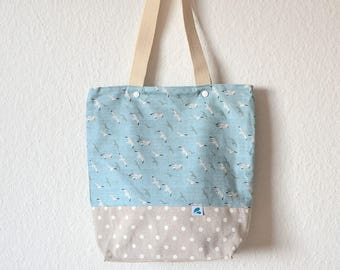 Bolso de tela gaviotas, bolsa de la compra resistente, reutilizable, Bolsa algodón , totebags