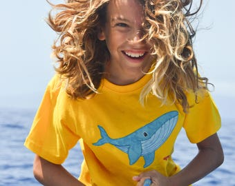 Camiseta yubarta Costurilla, Camiseta ballena jorobada. Camiseta para niños. Krill. Playa. Ropa divertida para niños