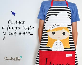 Delantal personalizado pequeños cocineros - niños que aman cocinar -  regalo personalizado - delantal costurilla