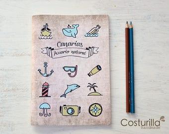 Cuaderno de viaje, bocetos, agenda. Para amantes del mar - buceo, navegación, ballenas, fotografía - Acuario natural