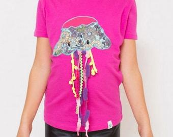 Camiseta medusa Costurilla, Camiseta rosa para niños. Buceo, amantes del mar. Océanos. Playa. Ropa dovertida de niños
