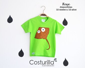 Camiseta mantarraya. Camiseta tiburon. Camiseta divertida criaturas marinas. Camiseta pez. Chucho. Camiseta manta. Camiseta raya. Costurilla