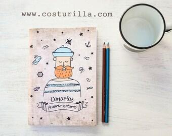 Marinero con barba, cuaderno de viaje, bocetos, agenda. Para amantes del mar - marineros, navegantes, oceanos - Acuario natural